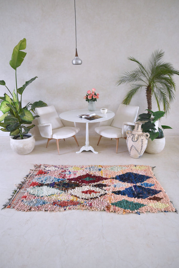 "Approach Empty Canvas With A SECRET GENTLE SOUL Boucherouite Rug. 6'2"" x 3'"