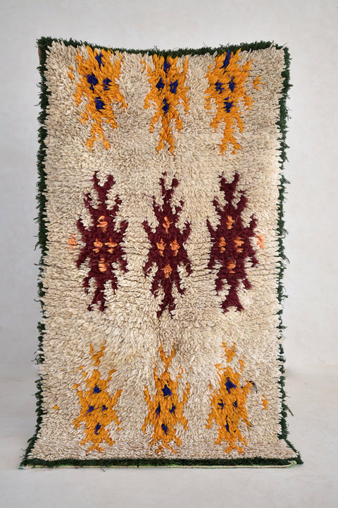 "BUTTERFLY SUMMER Boucherouite Rug. 5' x 2'10"" - Beni ourain, vintage moroccan rug, beni mguild, custom rug - the gardener's house"