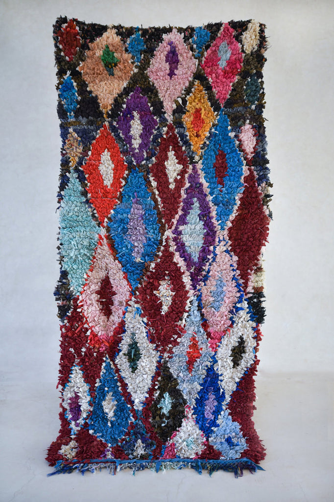 "JOKKMOKK MARKET in FEBRUARY Boucherouite Rug. 7'6"" x 3'5"""