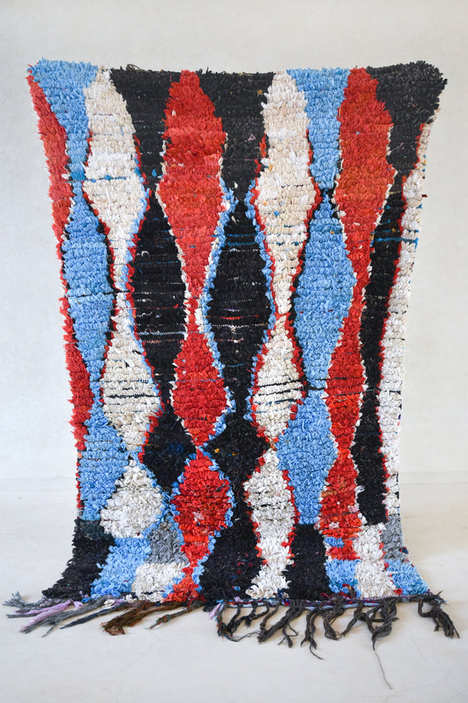"ALONG A NAMELESS RIVER Boucherouite Rug. 7'1"" x 4'"
