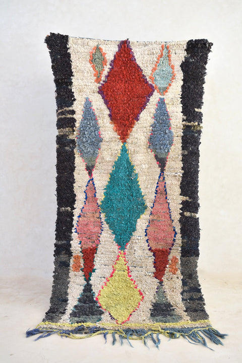 "Every day, REMEMBER to LIFT the CURTAIN Boucherouite Runner Rug. 6'7"" x 3'1''"