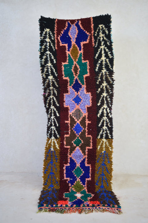 A CABIN in the WOODS Boucherouite Runner Rug. 8' x 2'11""