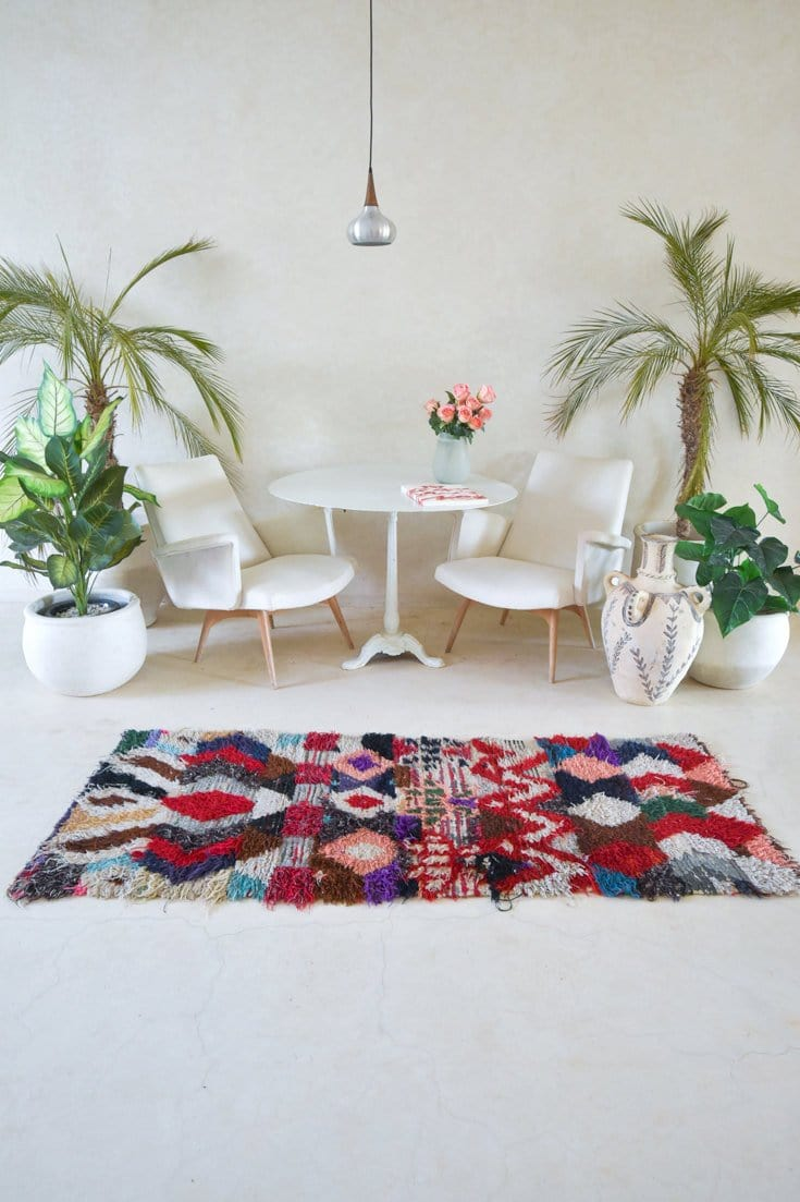 "WE Are The WILD ROSES Boucherouite Rug. 6'7"" x 2'9"""