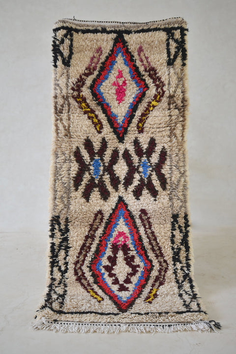 "The OLD MAN of STORR Azilal Runner Rug. 5'9"" x 2'5"" - Beni ourain, vintage moroccan rug, beni mguild, custom rug - the gardener's house"