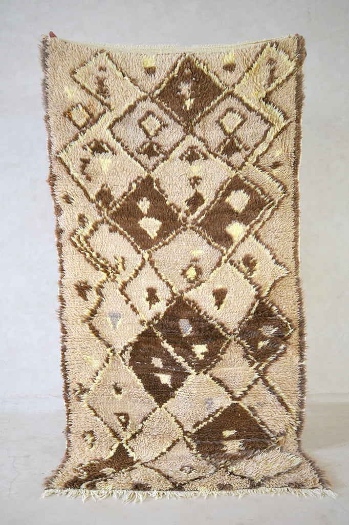 "ROCKY Azilal 6'1"" x 3'2"" - Beni ourain, vintage moroccan rug, beni mguild, custom rug - the gardener's house"