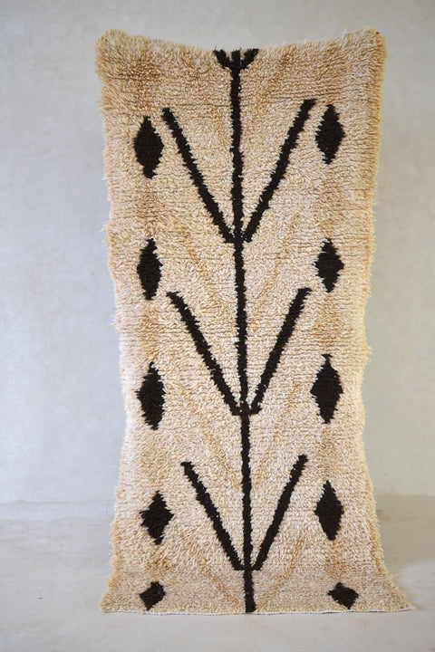 "COCONUT GROVE Boucherouite Rug. 6'9"" x 3'1"" - Beni ourain, vintage moroccan rug, beni mguild, custom rug - the gardener's house"