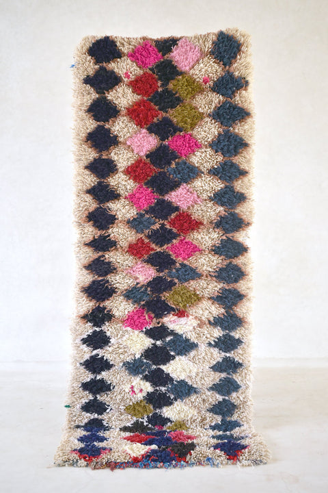 "ENJOY Life, EAT CAKE Boucherouite Runner Rug. 6'9"" x 2'9"""