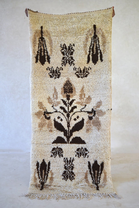 "The SEASON When FLOWERS Expand Their WINGS Azilal Runner Rug. 6'5"" x 2'9"" - Beni ourain, vintage moroccan rug, beni mguild, custom rug - the gardener's house"