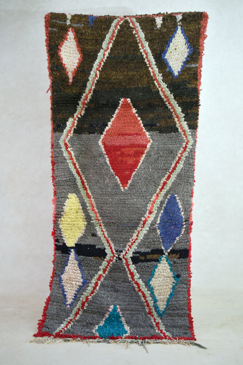 "ECHO of a DISTANT TIDE Boucherouite Runner Rug. 7'3"" x 3'6"""