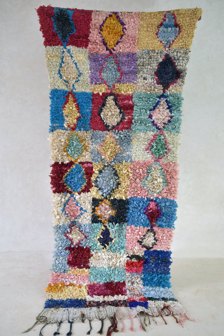 "The DEW Hung JEWELS in the HEATH Boucherouite Rug. 8'3"" x 2'11"""