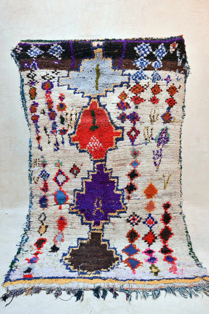 "FLOWERS FOR BRAINS Boucherouite Azilal Rug. 7'7"" x 4'10"""