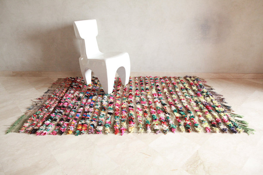 "A STORY of GROWING THINGS Boucherouite Rug. 6'10"" x 4'3"""