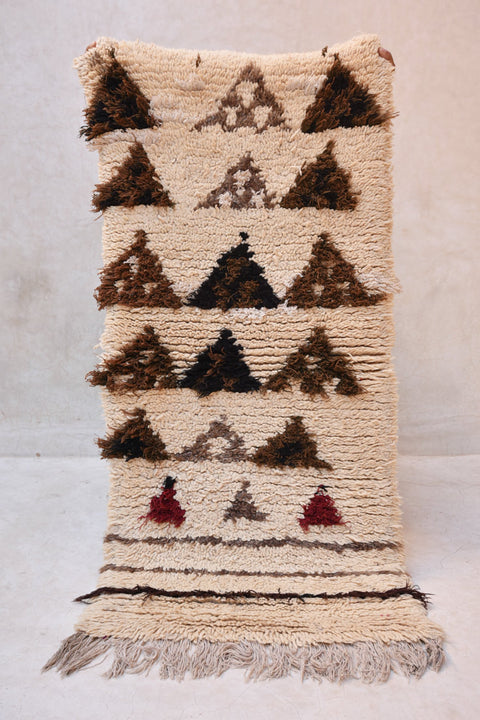 "The MOUNTAINS Are Calling, I MUST GO Azilal Runner Rug. 4'4"" x 2' - Beni ourain, vintage moroccan rug, beni mguild, custom rug - the gardener's house"