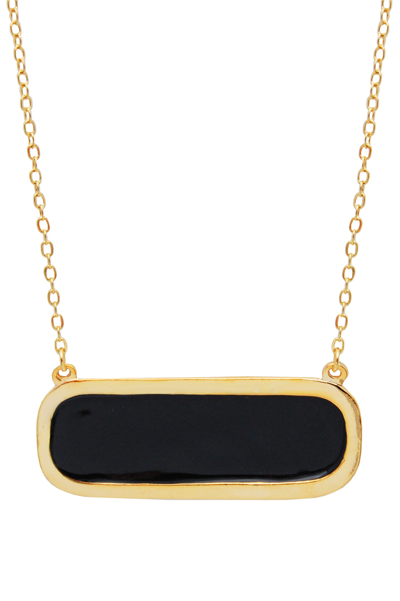 gold and black pendant necklace