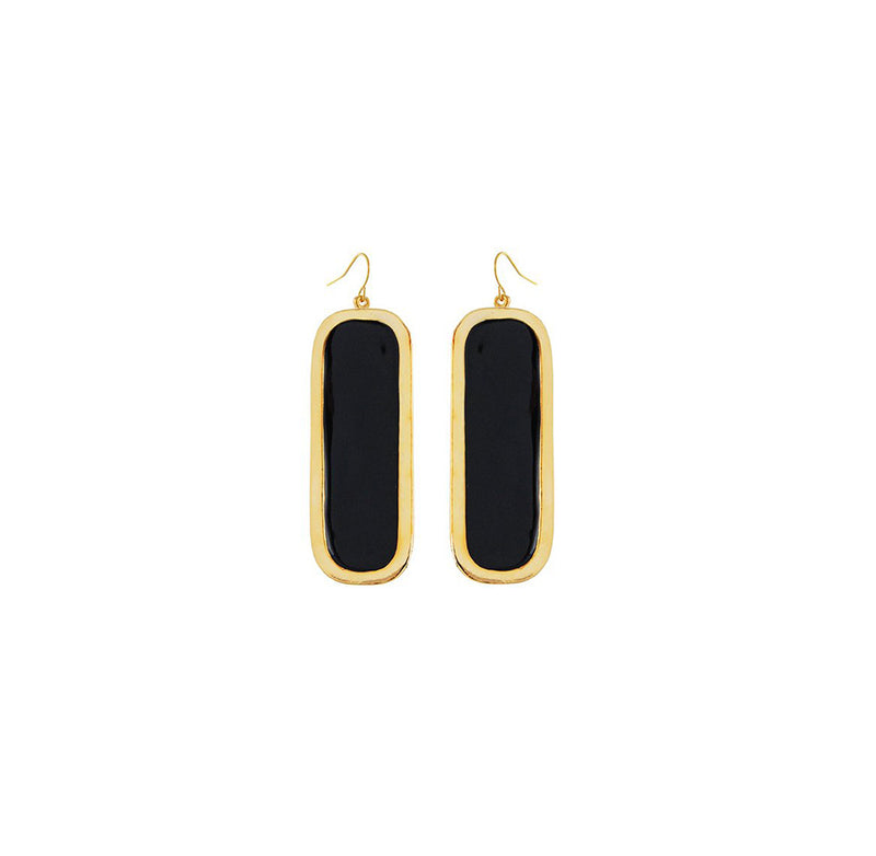 dolce vita black and gold dangle earrings