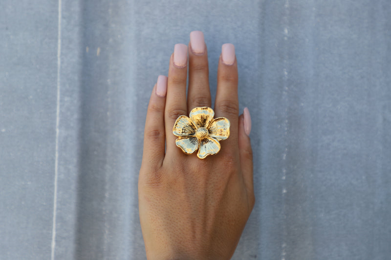 Aster Gold Flower Cocktail Ring