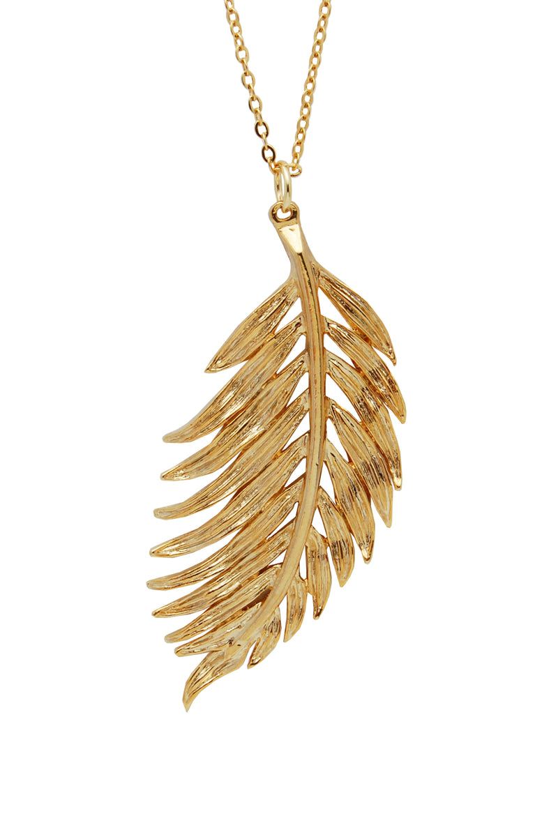 gold tuft palm leaf necklace