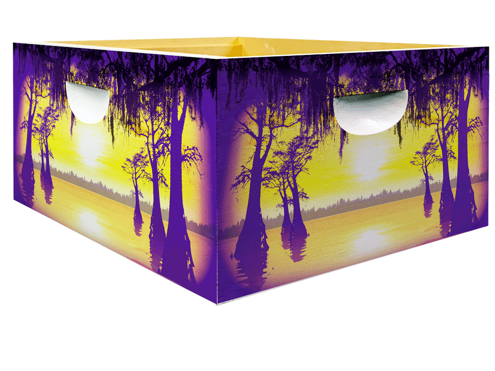 Purple and Gold Swamp Scene bee hive for honey bees