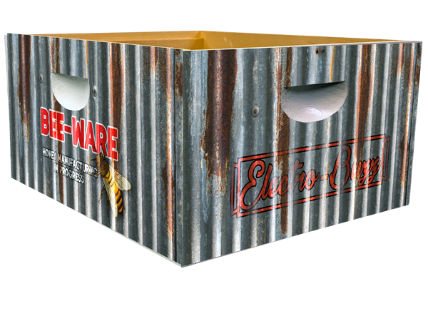 Corrugated Metal Bee-ware Theme - Bottom Deep Wrap