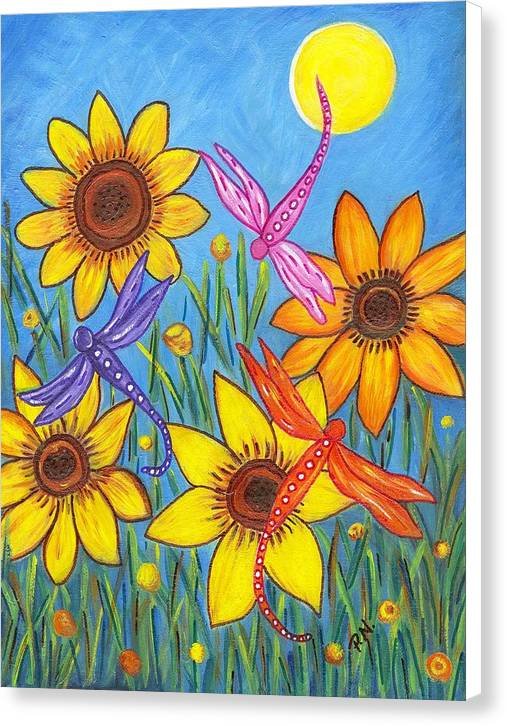 Sunflowers and Dragonflies Canvas Print