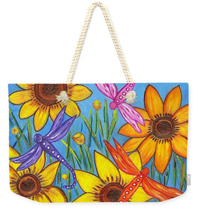 Sunflowers and Dragonflies Beach Bag