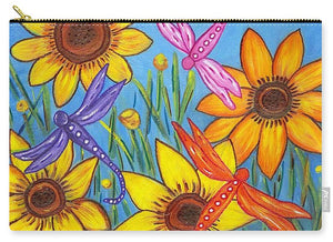 Sunflowers and Dragonflies Pouch