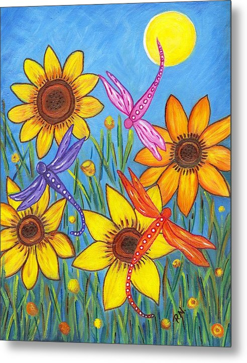 Sunflowers and Dragonflies Metal Print
