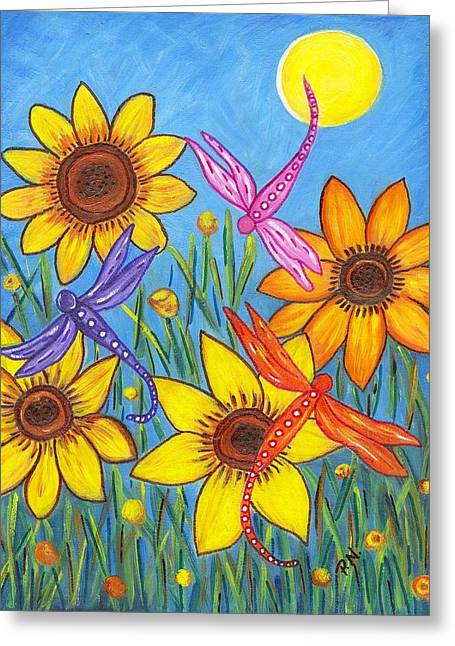 Sunflowers and Dragonflies Greeting Card