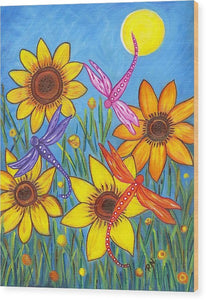 Sunflowers and Dragonflies Wood Print