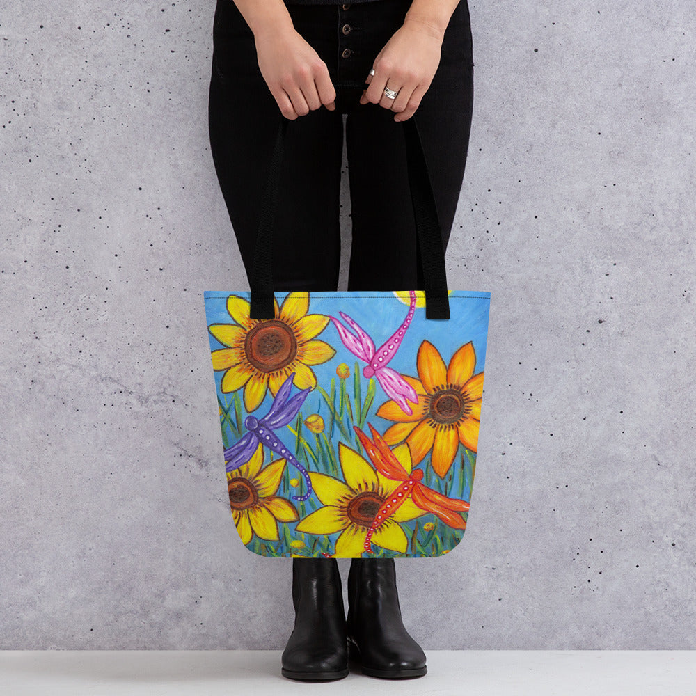 Sunflowers and Dragonflies Tote Bag