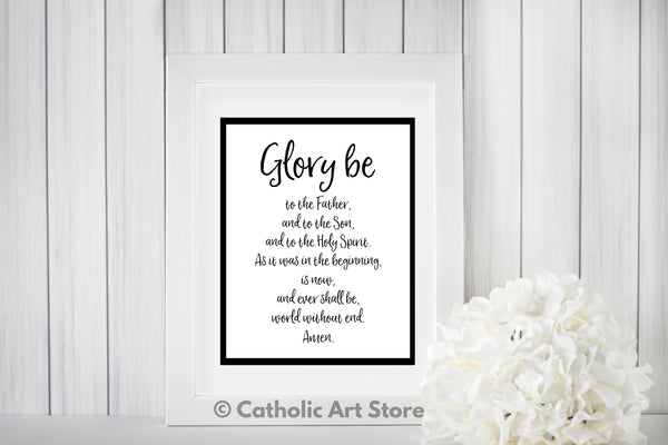Glory Be printable prayer in frame