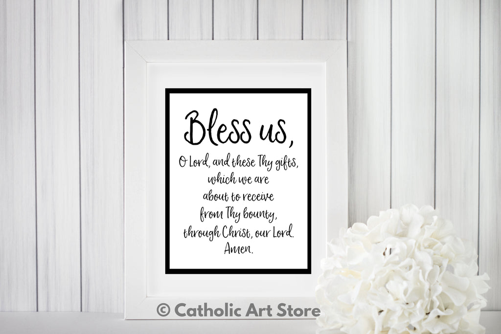 image about Printable Catholic Prayers titled Grace In advance of Food stuff Catholic Prayer - Bless Us O Lord - Kitchen area and Eating House Electronic Artwork - Catholic Wall Artwork - Spiritual House Decor