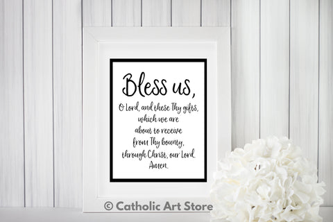 Grace Before Meals Catholic Prayer - Bless Us O Lord - Kitchen and Dining Room Digital Art - Catholic Wall Art - Religious Home Decor