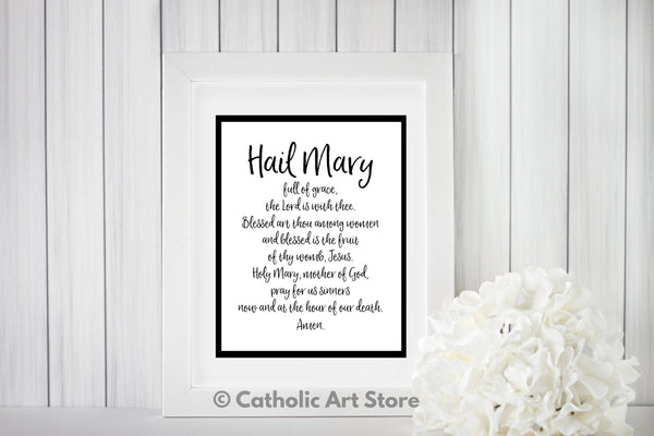 Hail Mary printable prayer in frame