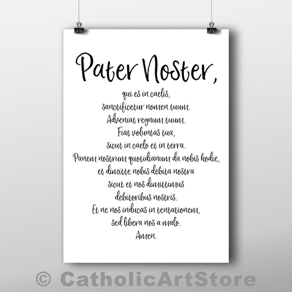 Pater Noster, Ave Maria, and Gloria Patri - Latin Prayers - Printable Prayer 3-Pack - Print-at-Home Catholic Prayer Decor - Rectory Convent