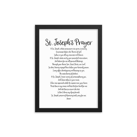 Year of St. Joseph - Catholic Prayer Framed Wall Art - Patron Saint Fathers - Christmas Home Decor - Priest Nun Deacon Convent Gift - Homeschool Home School Sunday Decoration