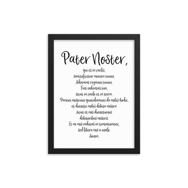 Pater Noster Latin Prayer Framed Poster - Catholic Our Father Prayer - Catholic Wall Art - Religious Home Decor - Easter Altar Art - Priest Nun Deacon Convent Seminary Gift