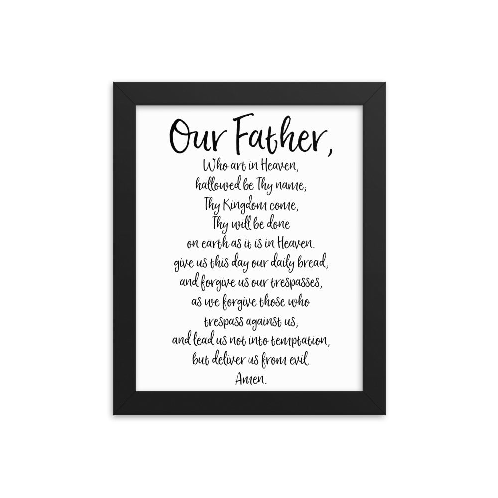 Our Father Prayer - The Lord's Prayer Framed Catholic Art - Catholic Prayer Gift