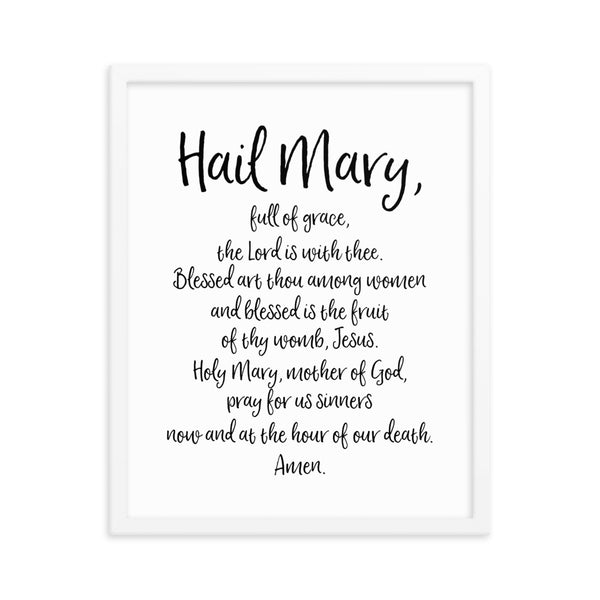 Hail Mary Prayer - Framed Catholic Art - Catholic Prayer Gift
