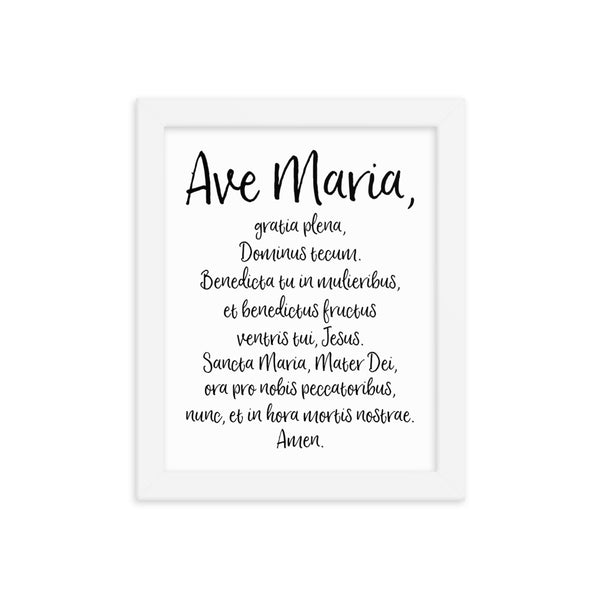 Ave Maria Latin Prayer - Catholic Framed Wall Art - Christmas Easter Home Decor - Priest Nun Brother Sister Deacon Convent Gift - Homeschool Home School Sunday Decoration