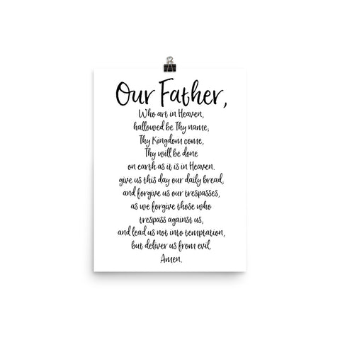 Our Father Prayer - The Lord's Prayer Catholic Art Poster - Catholic Home Decor