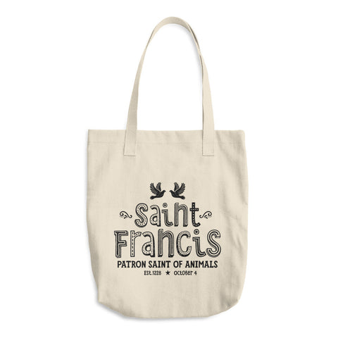 Saint Francis Cotton Tote Bag - Patron Saint of Animals - Catholic Pet Gift