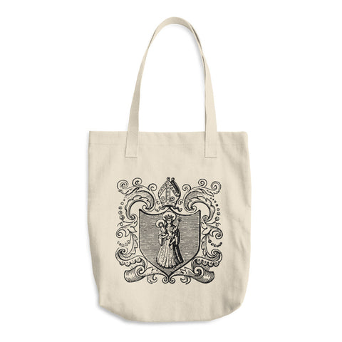 Blessed Virgin Mary and Baby Jesus Tote Bag - Our Lady of Mount Carmel - Vintage Catholic Image