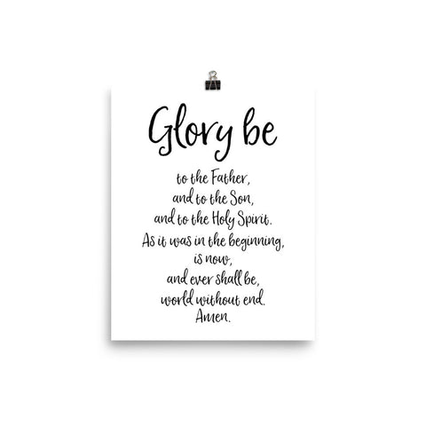 Glory Be - Catholic Prayer Poster - Catholic Home Decor