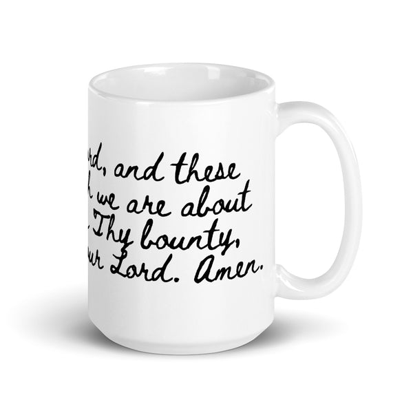 Bless Us O Lord Prayer Mug - Blessing before Meal - Kitchen Dining Room - Housewarming Gift for Nun RCIA Confirmation Baptism Chef Cook