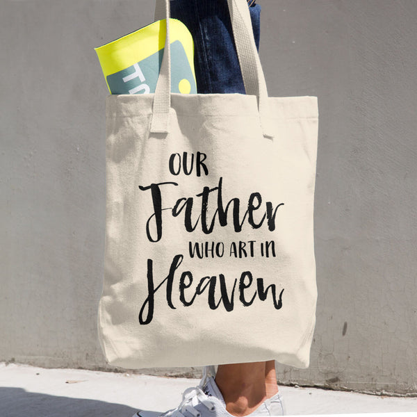 Our Father who art in Heaven Tote bag - Catholic Prayer Gift - Reusable Bag