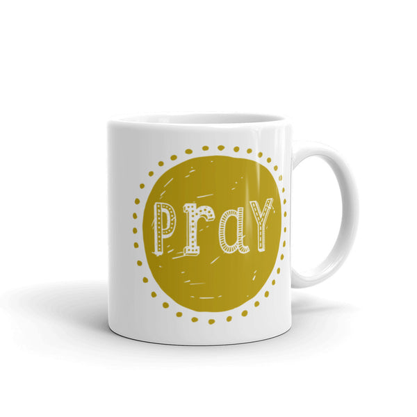 Pray Mug in Goldenrod - Catholic Birthday Gift - Catholic Kitchen