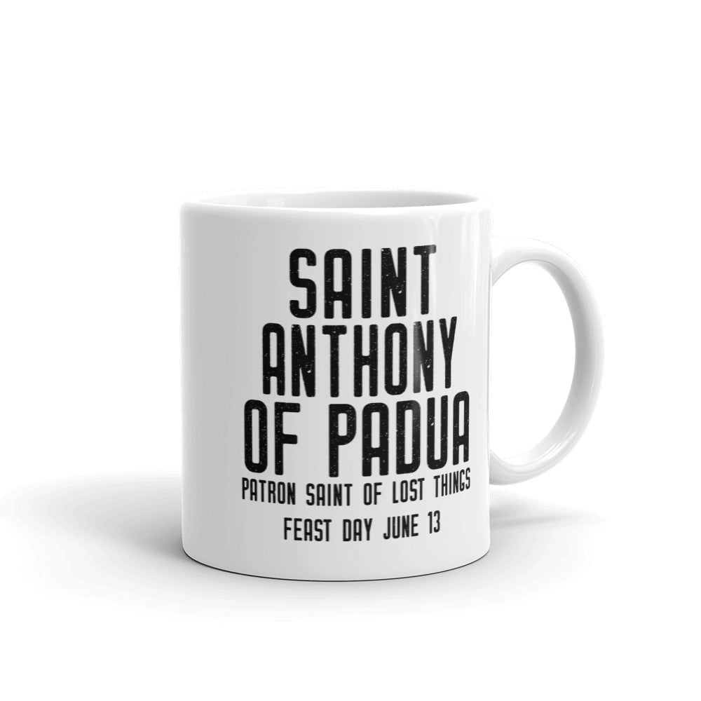 St. Anthony of Padua Pray for Us Mug - Patron Saint of Lost Things - Catholic Gift - Priest Brother Dad RCIA Confirmation Graduation Baptism