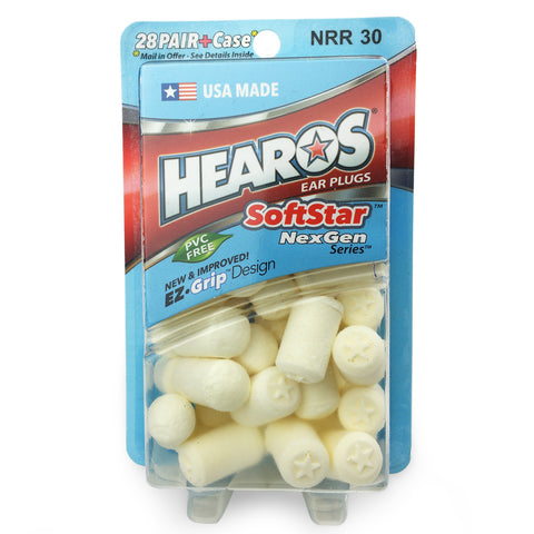Hearos SoftStar Cylindrical Ear Plugs - 28 pairs