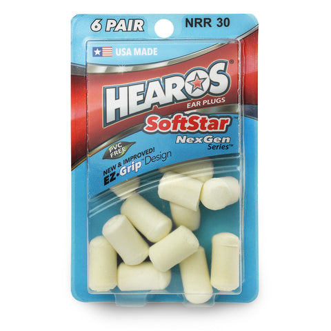 Hearos SoftStar Cylindrical Ear Plugs - 6 pairs